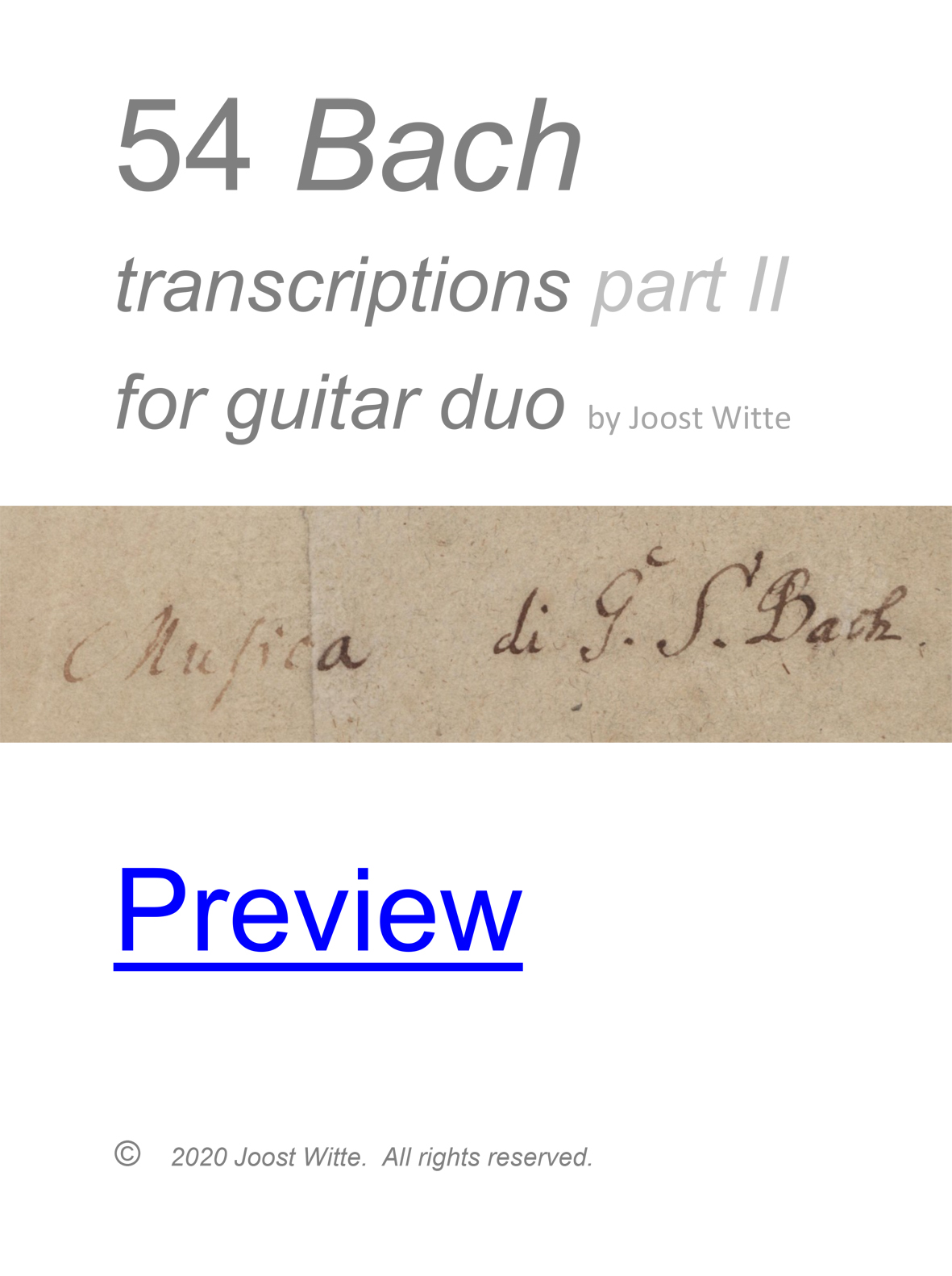Bach 54 transcriptions part II guitar duo preview eBook