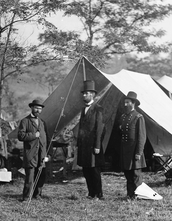 Antietam, Md. Allan Pinkerton, President Lincoln, and Maj. Gen. John A. McClernand; another view