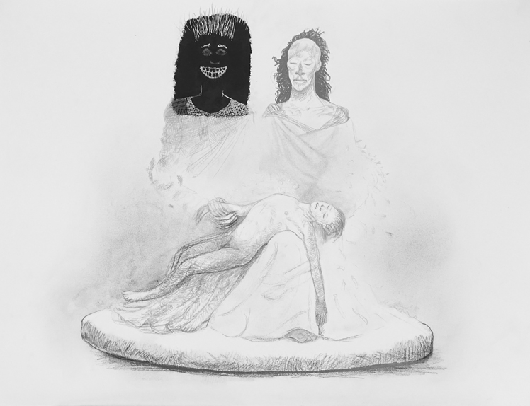 06 Bardo Pieta - Marble Sculpture - Drawing Joost Witte inspired by the novel Lincoln in the Bardo written by George Saunders